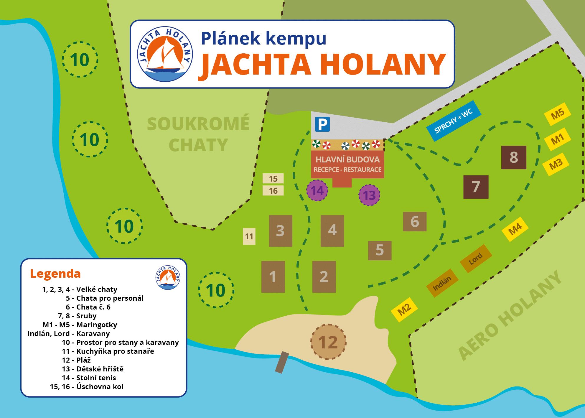 Plánek kempu Jachta Holany 2021